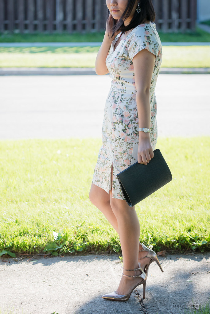 floral dress metallic strappy heels