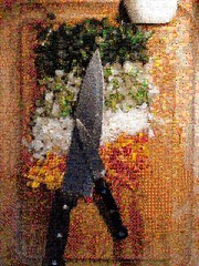 A Mosaic of Chopped Vegetables on a Cutting Board…