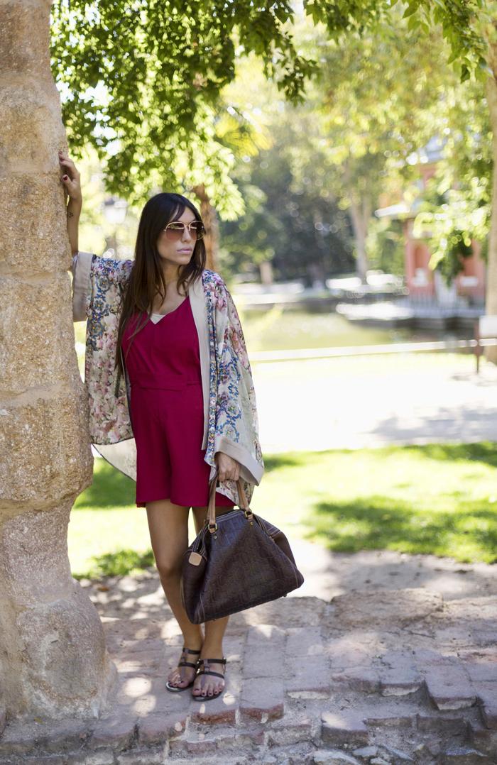 street style barbara crespo retiro kimono khemeia red dress fashion blogger outfit blog de moda