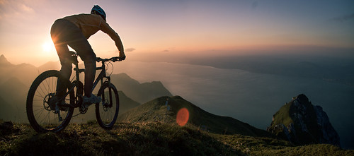 Mountain biking above Lake Leman