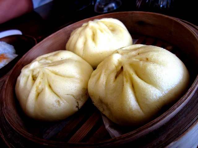 Steamed pumpkin chicken buns