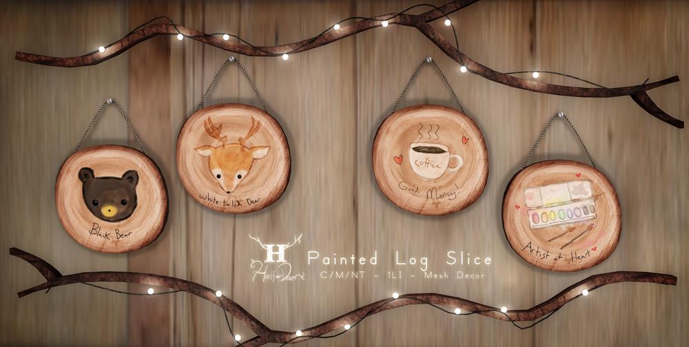 +Half-Deer+ Painted Log Slices for FLF