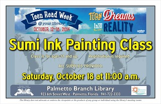 Sumi Ink Painting Class for Teens @ the Palmetto Branch Library