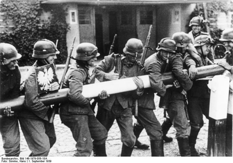 German troops rising a bar near Gdansk, 1 September 1939