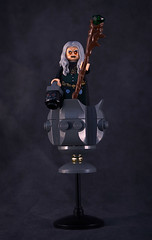 Baba Yaga in her flying mortar