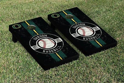 Oregon Ducks Cornhole Game Set Baseball Vintage Version