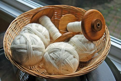 Blanket project worsted spun singles in Romney ewe lamb's wool