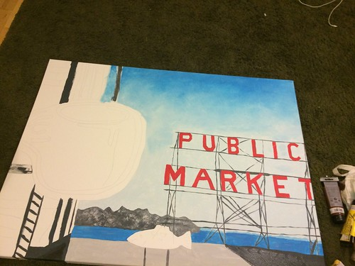 Original painting of Pike Place Market Copyright 2014 Evin O'Keeffe
