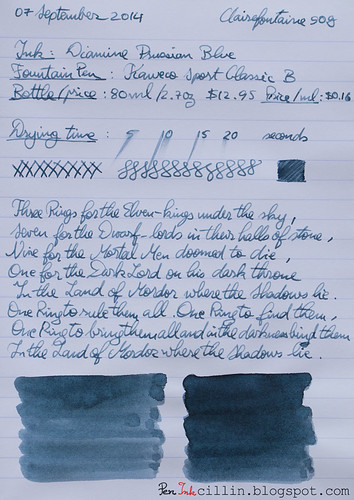 Diamine Prussian Blue on Clairefontaine