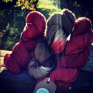 2 @yarnbox deliveries in 1 week = heaven. Regular box arrived earlier this week.. So excited I got the red/brown combo! #DeliciousYarns  #yarnporn #knitstagram #getyourkniton #yarnbox