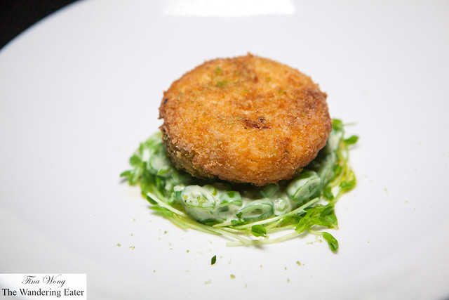 Crispy Crab Cake with Sugar Snap Pea Remoulade