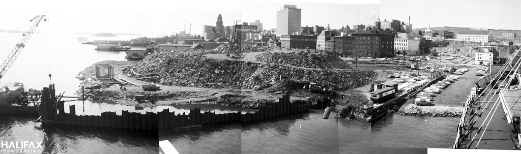 Placing fill for the construction of the Cogswell Interchange (composite panorama)