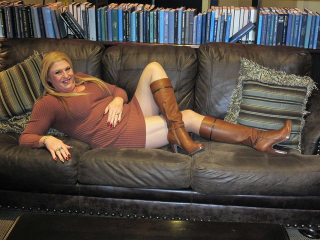 Tall Jessica Simpson Boots, Long Legs Leather Couch  & a Smile