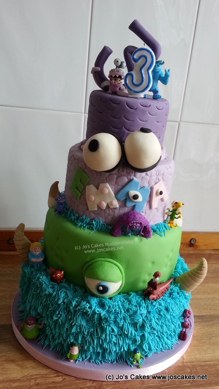 Monsters Inc University 4 Tier Birthday Cake With Mike And Sully