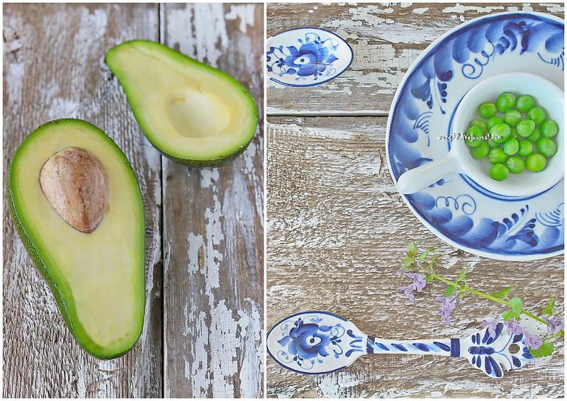 ...avocado green peas collage