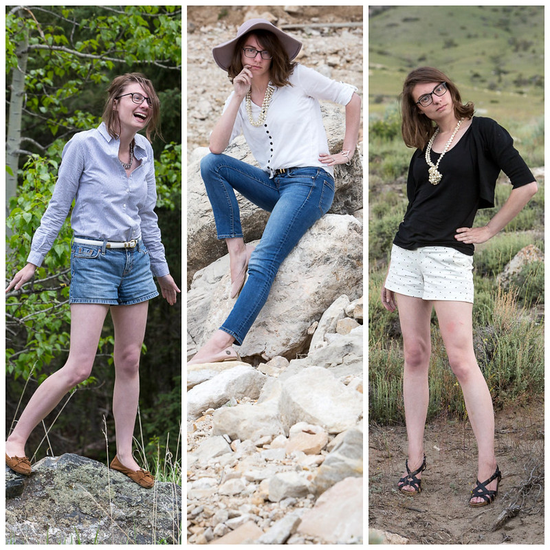 Shorts, button ups, jeans, pink hat, polka dot, stripe, popbasic, never fully dressed, withoutastyle, wyoming,