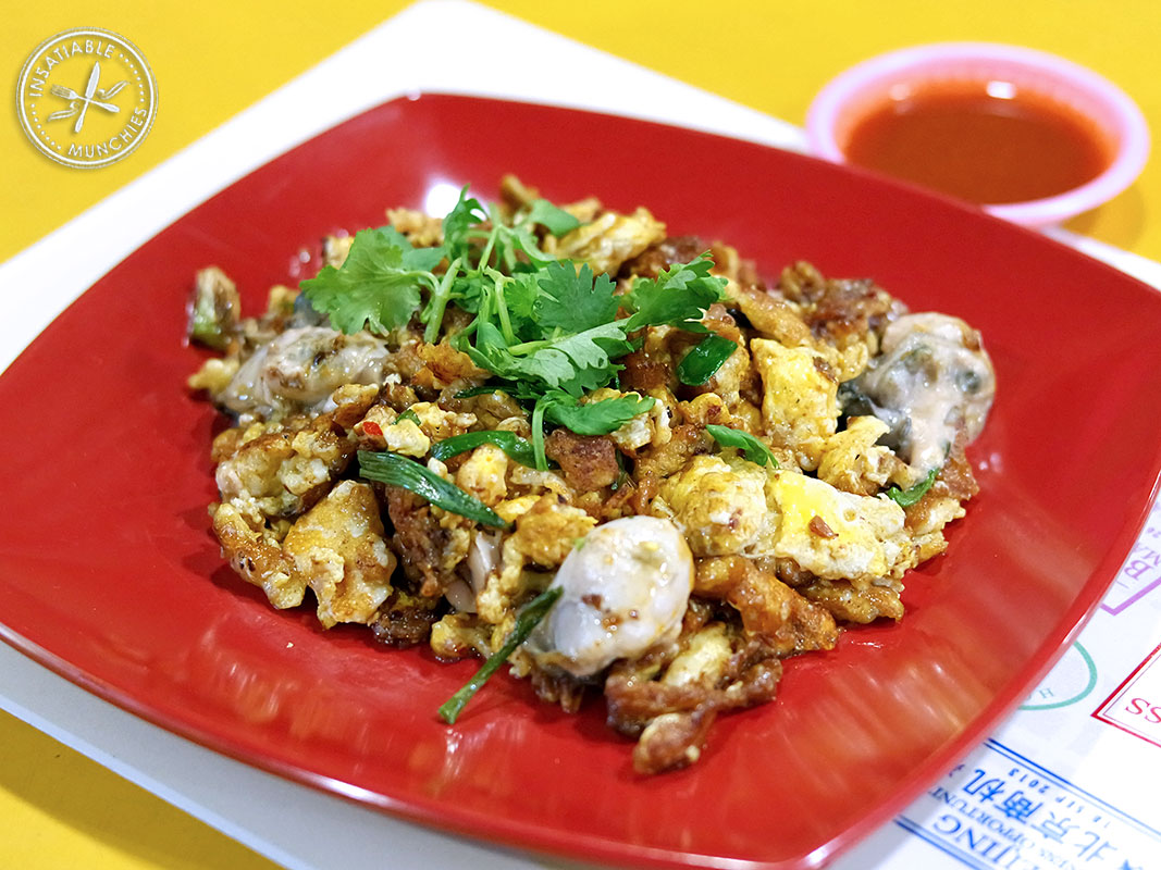 his is basically an oyster omelette, with sweet potato starch providing gooey bits within.