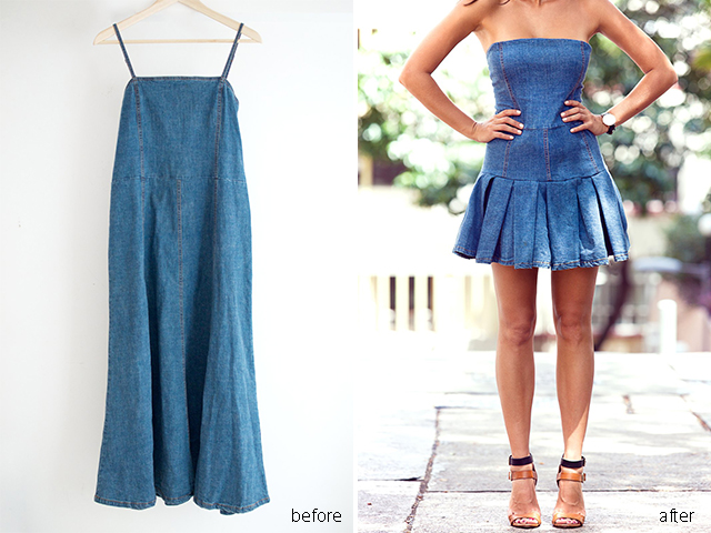 Transform a simple denim shift dress www.apairandasparediy.com