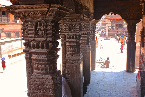 intricate woodwork in Patan's Durbar Square