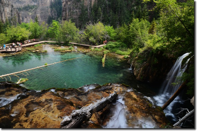 Looking down to Hanging Lake from  the top of the Falls 3