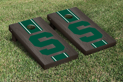 Michigan State Spartans Cornhole Game Set Onyx Stained Stripe S