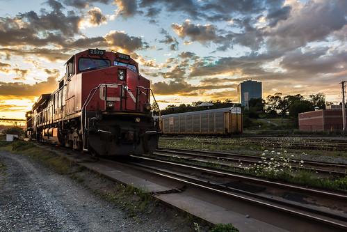 sunset canada cn train novascotia ns traintracks trainengine dartmouth canadiannational