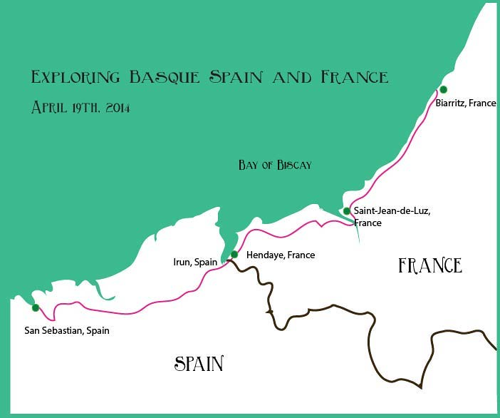 Map of Basque Country Spain and France