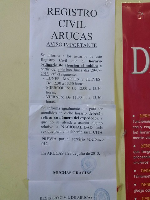 Horarios del registro civil de Arucas