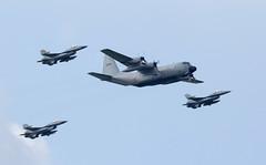 Lockheed Hercules C-130 and F-16 Escorts