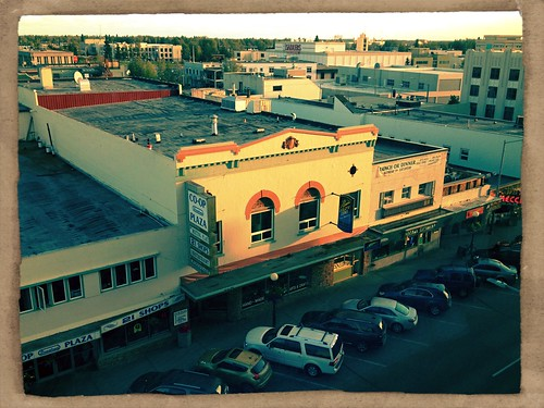 5th floor hotel room view of downtown Fairbanks, AK