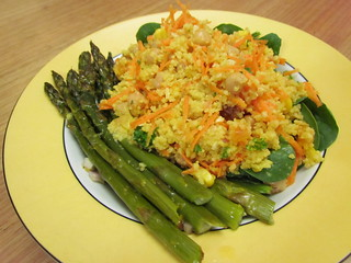 Golden Couscous Salad; Orange-Dressed Asparagus