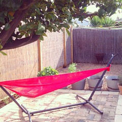 The hammock is out! Put up the Cambodian silk mesh hammock for the first time- I got two from Siem reap (10 dollars ea!). #tommorowisspring #simplepleasures #melbourne #spring