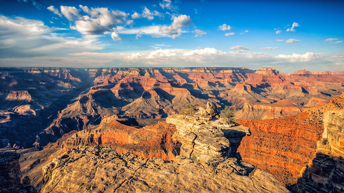 Sunny Skies and Clouds Over Grand Canyon