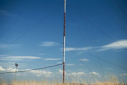 Artificial lines over a cloudy landscape