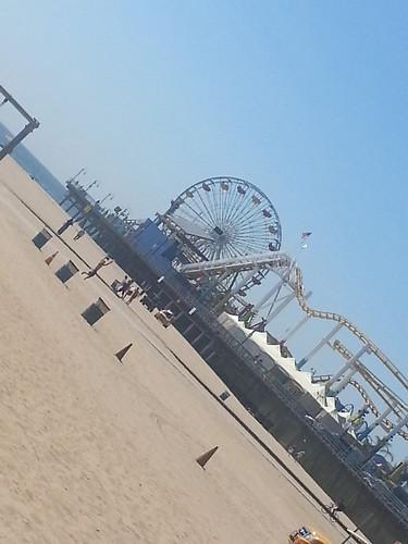 View of Santa Monica Pier from Muscle Beach in Santa Monica, California