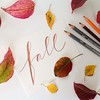 Fall - it's here! ...leaves from our back yard, lettering from my hand :) #fall #herbst #höst #ced2014 #arteveryday #colorfulleaves #handwriting #handschrift #thedailytype #lettering #brown #derwent #graphitint #watercolorpencils #orange #red