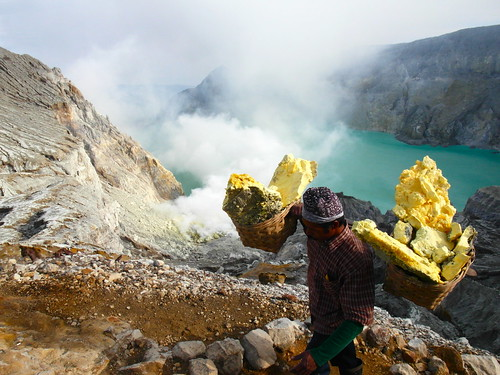 Sulphur mining at Kawah Ijen, Indonesia