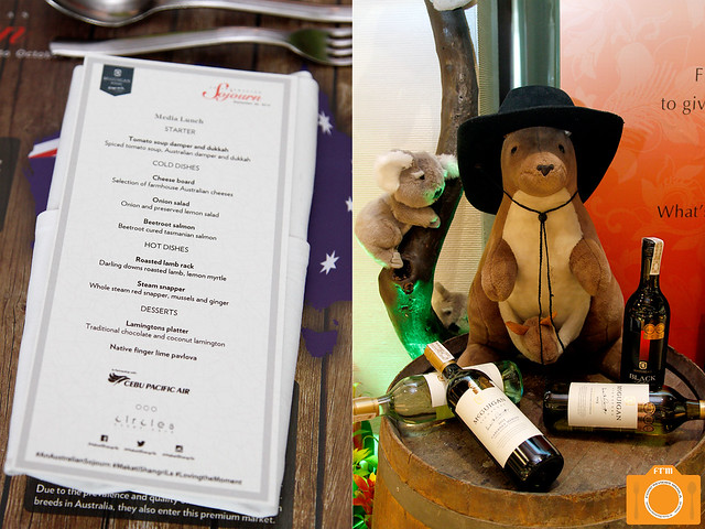 Australian Sojourn lunch menu and stuffed toys
