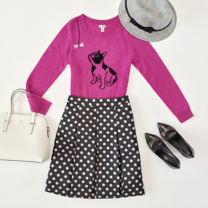 Outfit layout - pink french bulldot sweater and polkadot midi