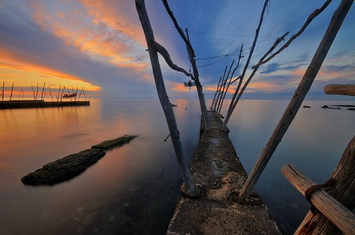 ocean longexposure sunset sea beach water clouds port reflections landscape pier boat seaside colorful ship dusk jetty croatia bluesky le hdr adriatic savudrija
