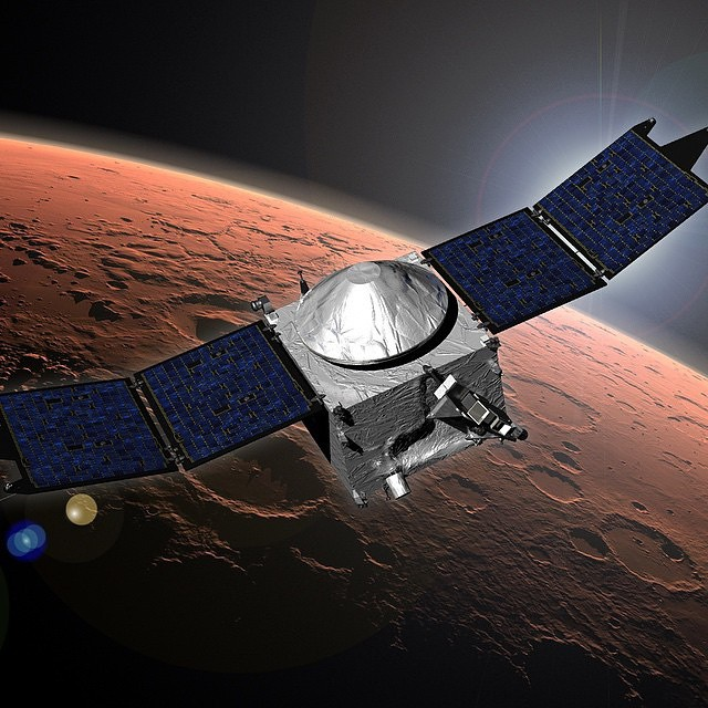 Now Orbiting Mars! After a 10-month, 442 million mile journey, our Mars Atmosphere and Volatile Evolution (MAVEN) arrived in Marsorbit late Sunday. It is the first spacecraft dedicated to exploring the upper atmosphere of Mars, answering important questio