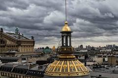 Vue des toits de Paris, au premier plan, à gauche le dôme doré à la feuille d'or, les toits typiquement parisien, View of the rooftops of Paris, in the foreground, left the gilded dome of gold, Parisian rooftops,