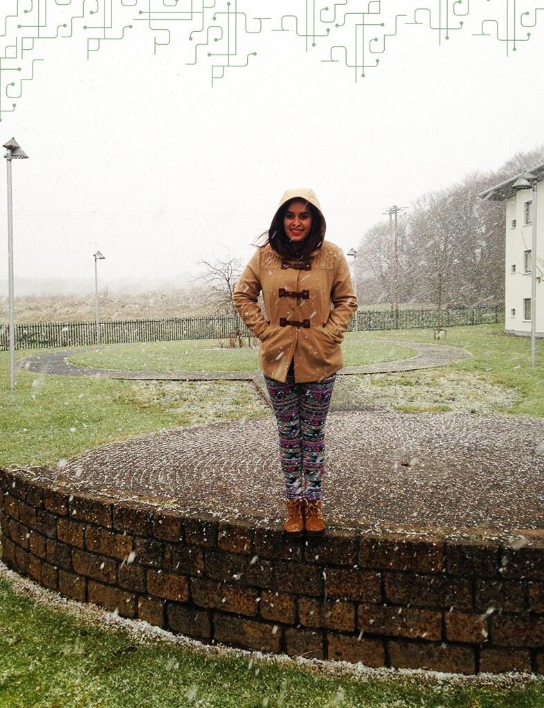 Primeiro dia que vi a neve em Sligo, bem fraca mas com muito vento e frio