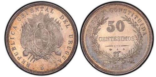 1877 Uraguay Fifty Centisimos