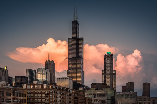 city sunset sky cloud chicago storm clouds skyscraper buildings illinois downtown cityscape unitedstates searstower stormy il theloop willis hanusiak willistower