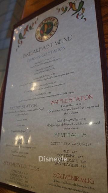 コロナド・スプリングス・リゾート内レストランのメニュー