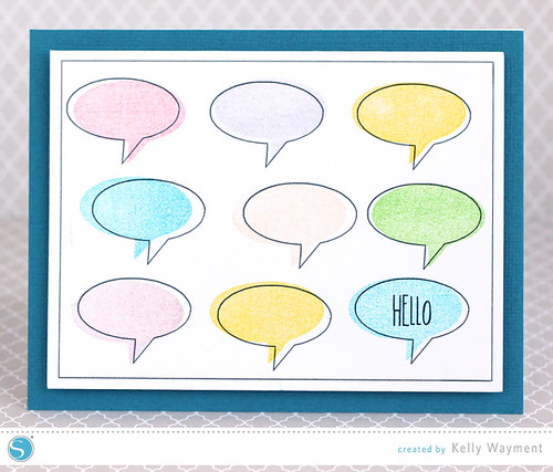 Hello Stamped-Sketched Card by Kelly Wayment for Silhouette