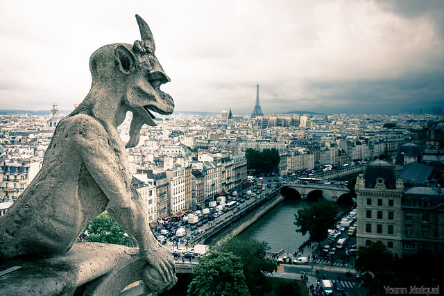 Panorama view of Paris from Notre Dame cathedral