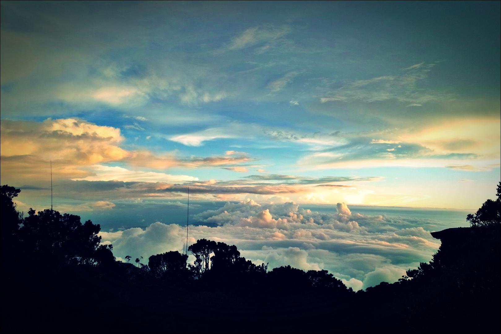 석양-'키나발루 산 등정 Climbing mount Kinabalu Low's peak the summit'