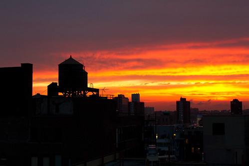 nyc sunset ny newyork night evening cloudy manhattan